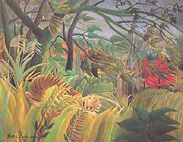 "Henri Rousseau ""Le Douanier"" (Il doganiere), ""Tiger in a Tropical Storm. Surprised! (Tigre in una tempesta tropicale. Sorpresa!)"", 1891, The Trustees of the National Gallery, Londra (London)"