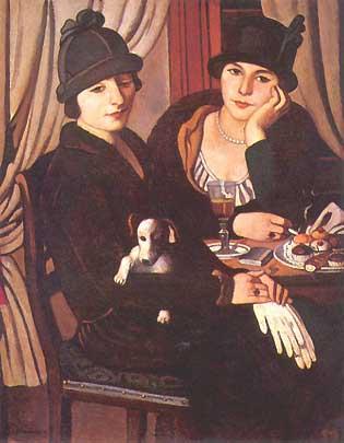 Piero marussig, &;donne al caffè&;, 1924, museo del novecento, milano